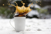 Splash Freeze Coffee Snow — Stock Photo