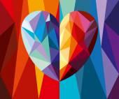 Polygonal heart — Stock Vector