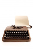 Portable typewriter and paper — Stock Photo