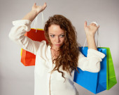 Woman has fun on spending spree — Stock Photo