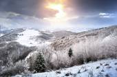 Winter landscape in the Carpathians of Romania — Stock Photo