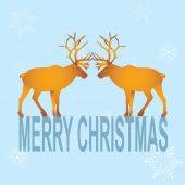 Greeting card with a love of reindeer. Christmas holiday. Editab — ストックベクタ
