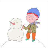 Editable Vector illustration. Boy in coat and hat with snowman. — Stock Vector