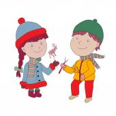 Editable Vector illustration. Boy and girl in coat and hat with — Stock Vector
