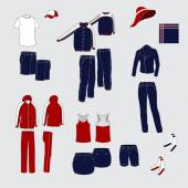 Set of women's and men's clothing. Red and blue costumes everyda — Stock Vector