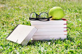 Book set, glasses and apple — Stock Photo