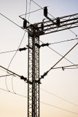 Railroad transmission lines — Stock Photo