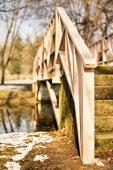 Bridge's wooden fence — Stock Photo