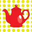 Постер, плакат: Red tea pot with yellow polka dot background