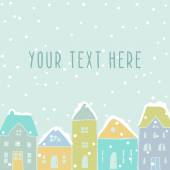 Winter houses card template — Stock Vector