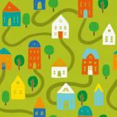 Bright houses pattern — Stockvector