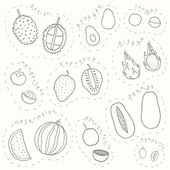 Set of hand drawn sketch tropical fruits part 2 — Stock Vector