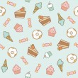Sweet pattern. Cakes, cupcakes, candies, donuts, ice cream cones — Stock Vector #57659839