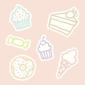 Cupcake, piece of cake, ice cream cone, candy, donut. — Stock Vector