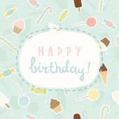 Sweet greeting Birthday card. — Stock Vector