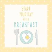 Start your day with breakfast card. — Stock Vector