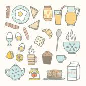 Ontbijt eten en drinken. — Stockvector
