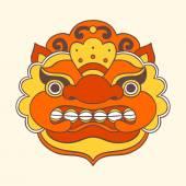 Traditional balinese mask. Barong. — Stock Vector