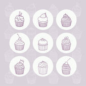 Nine hand drawn outline cupcakes. — Stock Vector