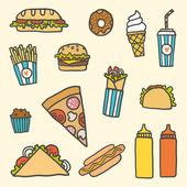 Fastfood cartoon set — Stock Vector