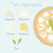 Four cheese pizza ingredients. — ストックベクタ