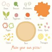 Make you own pizza set. — Stock Vector