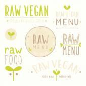 Raw vegan badges. — Stockvektor