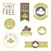 Soy free hand drawn labels. — Stock Vector