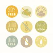 Soy, gluten, lactose free signs. — Stock Vector