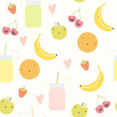 Smoothie pattern with funny fruits. — ストックベクタ