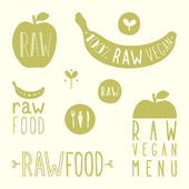 Raw vegan labels. — Stock Vector