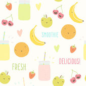 Smoothie pattern with funny fruits. — Stock Vector