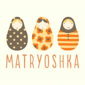 Three matryoshka dolls. — Stock Vector
