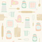 Kitchen utensils pattern — Stock Vector