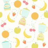 Blender and fruits pattern. — Stock Vector
