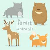 Forest animals set. — Stock Vector