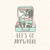 Lets go anywhere. Suitcase with clothes, flip flops, camera and guide. — Stockvektor