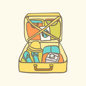 Suitcase with clothes, flip flops, camera and guide. — Stock Vector