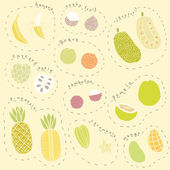 Set of hand drawn tropical fruits part 1 — Stock Vector