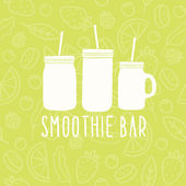 Smoothie bar logo. 3 different mason jars. — Stock Vector