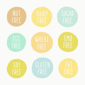 Nut, dairy, sugar, egg, wheat, gmo, soy, gluten, fat free signs — Stock Vector
