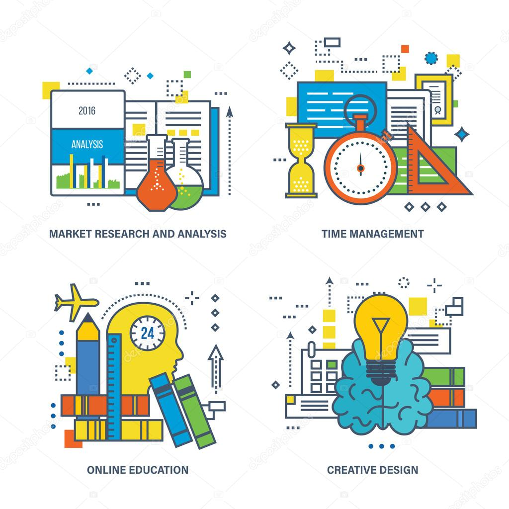 Market Research And Analysis Time Management Online Education Depositphotos  Stock Illustration Market Research And Analysis Time Stock Illustration Market Research And Analysis Time