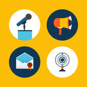 Vector conference icons in flat style — Stock Vector