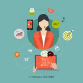 Business customer care service concept flat icons — Stock Vector