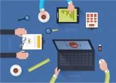 Concept of teamwork in flat design — Stock Vector