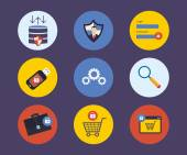 Security and data protection flat icons — Stock Vector