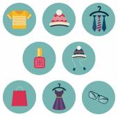 Series of eight flat icons the clothes and accessories — Stock Vector