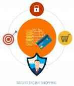 Secure online shopping — Stock Vector