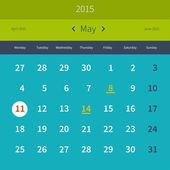 Calendar May 2015 — Stock Vector