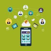 Social network and teamwork — Vecteur